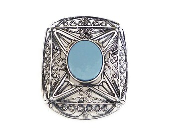 Sterling Israel Brooch Pendant Chalcedony Stone 925 Silver Filigree Vintage Jewelry