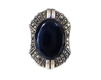 Art Deco Ring, Sterling Germany, Sterling Silver, Sterling Ring, Black Onyx, Marcasite, Art Deco Jewelry, Vintage Ring, Size 5