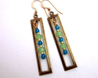 Green & Blue Dangle Earrings -- Long Rectangle Earrings -- Geometric Brass Earrings -- Blue and Green Bead Dangles -- Trendy Earrings