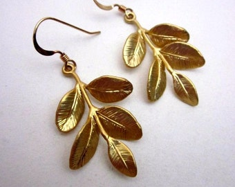 Gold Branch Dangles -- Gold Leaf Earrings -- Branch Leaf Earrings -- Gold Leaf Branch Earrings -- Gift Box Included