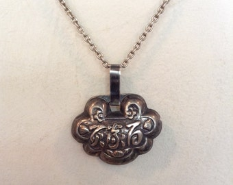 Vintage Sterling Silver Chinese Lock Pendant on Heavy Sterling Rolo Chain