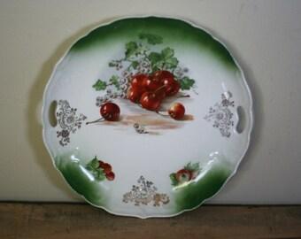 vintage cherry ceramic plate