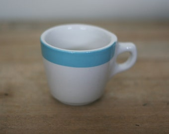 vintage blue and white diner coffee cup buffalo china