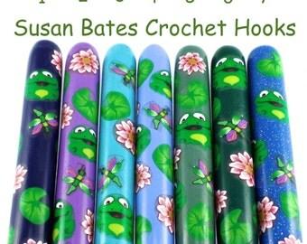 Crochet Hook,  Polymer Clay Covered Susan Bates Crochet Hook, Frog Design