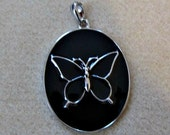 DESTASH - Butterfly Pendant - Large Black and Silver Enamel Pendant With Bail - Jewelry Making DIY Craft Supply