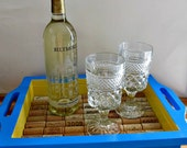 Wine Cork Tray - Blue and Yellow - Serving, Entertaining, Summer Home Decor