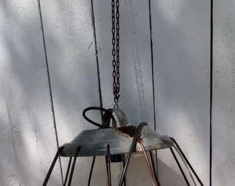 Antique Poultry Feeder Cage Repurposed Pendant Lamp (50 % DISCOUNT APPLIED)