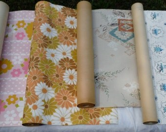 Lot of Four 60s 70s Era Antique Vintage Wall Paper Rolls (50 % DISCOUNT APPLIED)