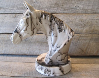 Custom Pet Memorial American Quarter Horse Statue - Horse Hair Pottery Statue