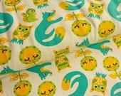 Znok Design Organic Cotton Stretchjersey Fox & Owls Turquoise