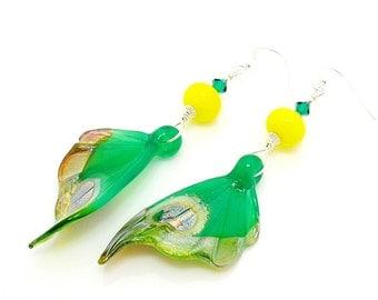Butterfly Wing Earrings, Butterfly Earrings, Butterfly Jewelry, Lampwork Earirngs, Dangle Earirngs, Glass Bead Earrings, Nature Jewelry
