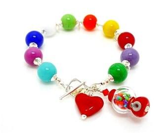 Gumball Bracelet, Gumball Machine Bracelet, Lampwork Bracelet, Beaded Bracelet, Glass Bead Bracelet, Bubble Gum Bracelet, Beadwork Bracelet