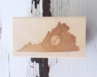 Virginia is for Knitters / Wood Stamp / Stationery / Gift for Knitter / Pen Pal / Limited Edition / SALE