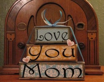 Love You Mom, Mom Sign, Mom Sign Blocks, Mom Gift, Mothers Day Gift, Large Word Block Stacker