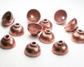 11mm Solid Copper Bead Caps 12 pcs. GC-315