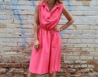 SALE vintage neon pink tank dress / sporty, tennis dress, sleeveless, summer dress, hot pink, midi length, elastic waist, pockets