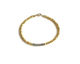 LIMITED EDITION LABRADORITE Single Strand Bracelet | Labradorite & Gold Pyrite
