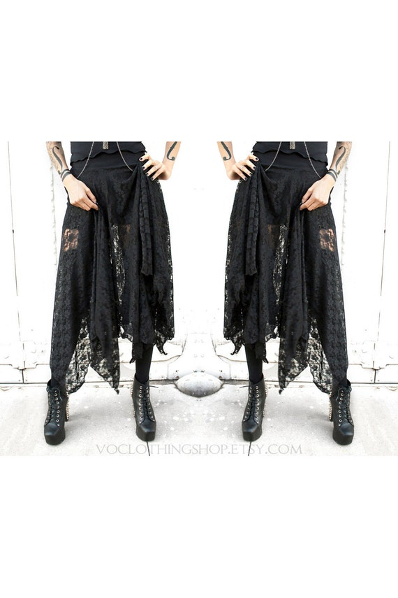WITCHY BLACK LACE long sheer maxi skirt