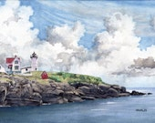 The Nubble, York Maine - Open edition print of an original watercolor (fits 11x14 frame)