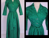 Vintage 1960s Dress Emerald Green Satin Brocade Roses Pleated Skirting Belted 60s Day Dress M