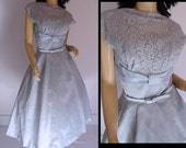 Vintage 50s Dress Glitter Baby Blue Lace Illusion New Look Cocktail 50s Party Dress S