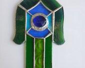 Hamsa, Glass, Judaica, Home Decor, Made in Israel, Fatima's hand, Israel Art, Staiend glass, Handmade decor
