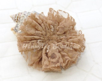 "2 pcs TAN Brown 3"" inch Unfinished Ballerina LACE Shabby Ruffled Flowers, DIY applique hair Supplies accessories"