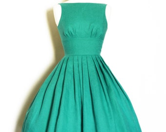 Jade Green Linen Tiffany Prom Dress - made by Dig For Victory