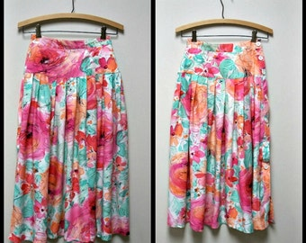 VTG 80s CASSIDY Bright Multi Colored Rayon Print Drop Waist Pleated Skirt Size 2