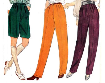 80s Pleated Pants Shorts Pattern Butterick 4502 Size 12 14 16 Bust 34 36 38 inches UNCUT Factory Folds