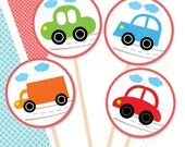 "Retro Cars Printable Party Tags - Cupcake Toppers - 1,5"" Printable Party Favors - Old Cars  - Instant Download"