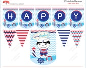 Little Sailor Boy Nautical Pennant Sailor Printable Party Banner  Happy Birthday - Blue Navy  Red  - Instant Download