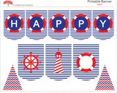 Nautical Pennant Sailor Printable Party Banner  Happy Birthday - Navy & Red.  - Instant Download