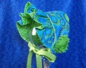 Newborn Baby Bonnet Blue and Green Paisley Seersucker