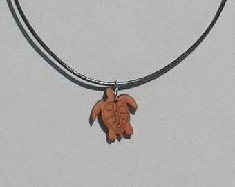 Wood Sea Turtle Necklace