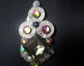 Contemplation Bindi, re-useable bellydance / festival forehead gem, silver and crystal