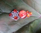 Crimson Star Bindi, re-useable bellydance / festival forehead gem, silver and red