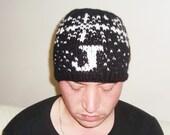 J Letter initial hat Men's Hat Beanie Hand Knit Hat for Men Unisex Beanie Monogrammed Hat Black White Snowflakes Personalized womens mens
