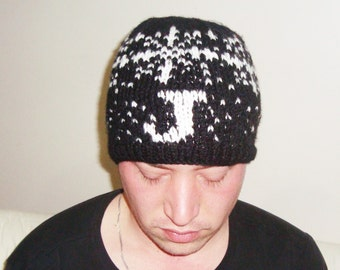 Letter beanie, Hand knit beanie, Adult beanie, J, Personalized gift for men or women beanie, winter beanie, black, white