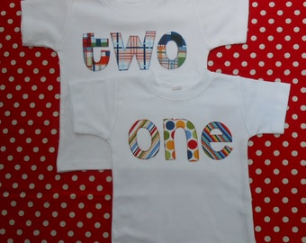 New Item.. One, Two or Any Number Shirt..  Choose Your Number Word  and Fabrics..  Long or Short Sleeve