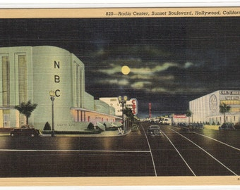 Radio Center NBC Sunset Boulevard Hollywood California linen postcard