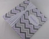 Photo Album, Personalized baby album, Girl Photo Album, 4x6, 5x7, 8x10, large and custom, Gray and Purple Chevron