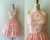 RESERVED LISTING -- 1950s Vintage Dress - 50s L'Aiglon Pink Floral Sundress - Petites Fleurs