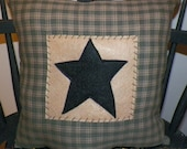 "UNSTUFFED Primitive Pillow Barn Star Country Cushion Home Decor Plaid Cover Decoration Decorative 14x14"" Green Plaid Square Prim wvluckygirl"