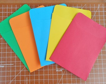 20 Library Card Pockets Non-Adhesive Assorted Colors
