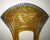 Vintage 20s Amber Celluloid Hair Comb Azure Blue Rhinestones