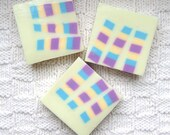 Yellow Baby Powder Shea Butter and Glycerin Soap with Multicolored Stripes