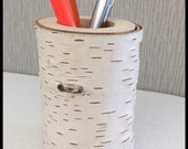 Birch pencil holder made of whole piece of wood rustic natural modern office decor white birch bark cup vase