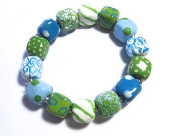 Beaded Bracelet, Kazuri Bangle, Fair Trade, Ceramic Jewellery, Green, Turquoise, Light Blue and White Bracelet