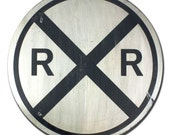 Rail Road Crossing - Hand Painted Vintage Inspired Train Sign